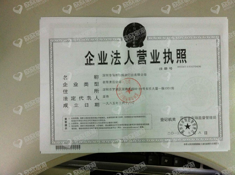 深圳市海外国际旅行社有限公司营业执照