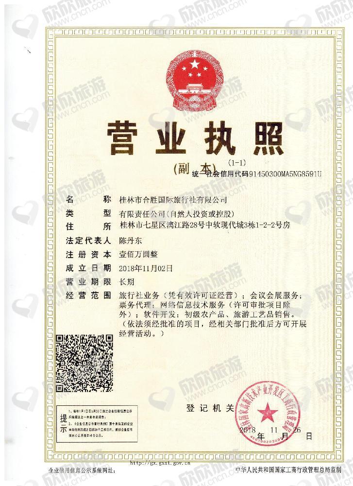 桂林金海国际旅游有限公司营业执照