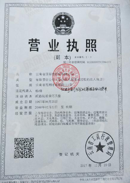 云南省国际旅行社有限公司营业执照