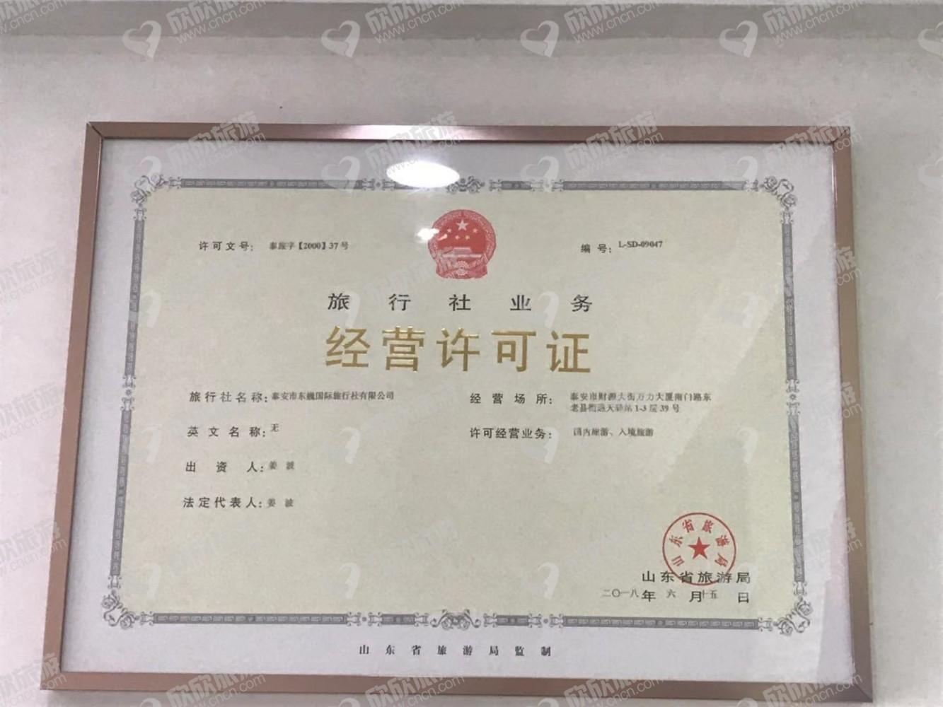 泰安市东巍国际旅行社有限公司【综合部】经营许可证