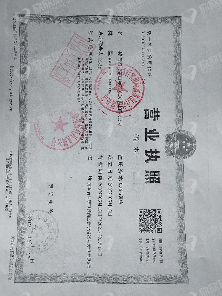 青海行家国际商务旅行社有限公司营业执照
