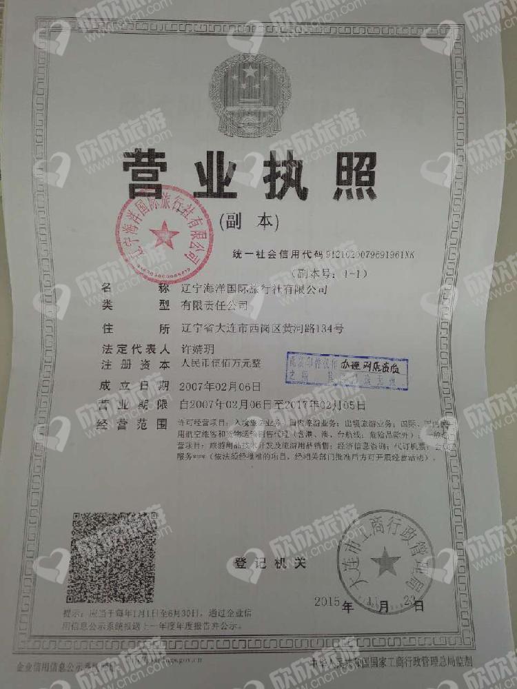辽宁海洋国际旅行社有限公司营业执照