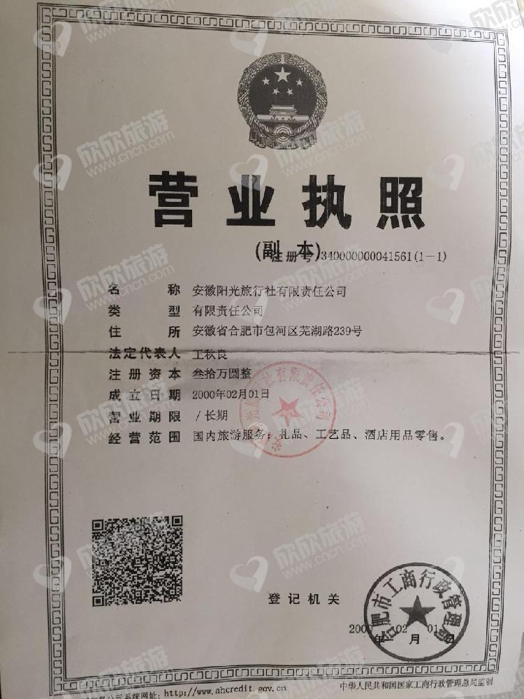 安徽阳光旅行社有限责任公司营业执照