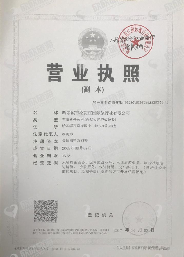 哈尔滨市松花江国际旅行社有限公司营业执照