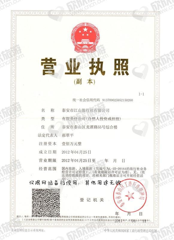 泰安市江山旅行社有限公司营业执照