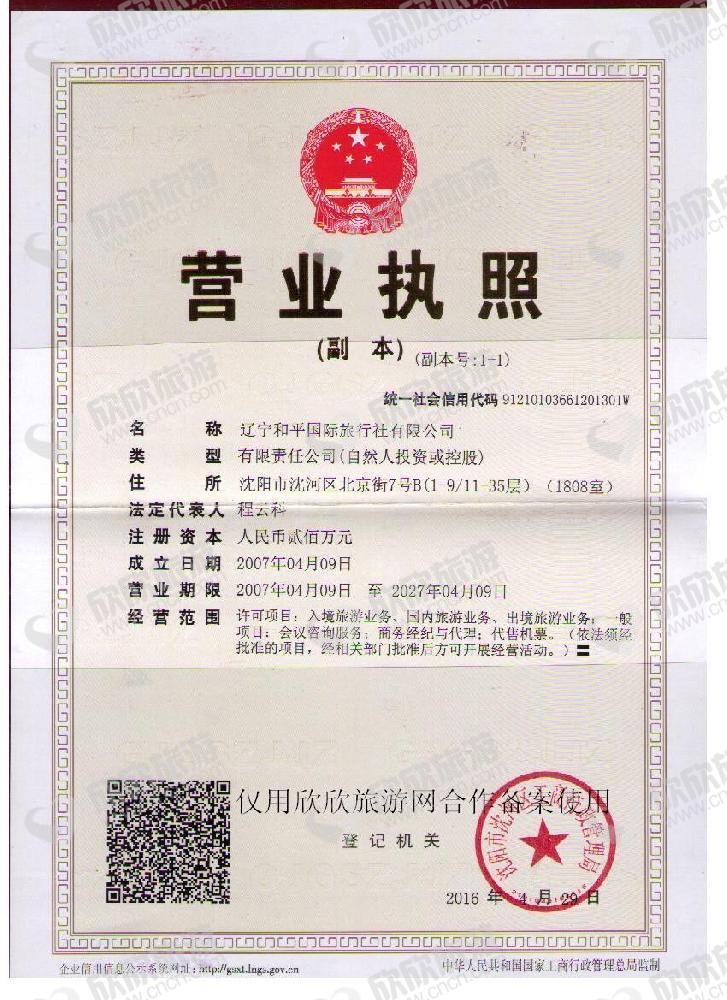 辽宁和平国际旅行社有限公司营业执照
