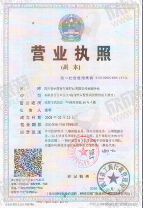 四川省中国青年旅行社有限公司长顺分社营业执照