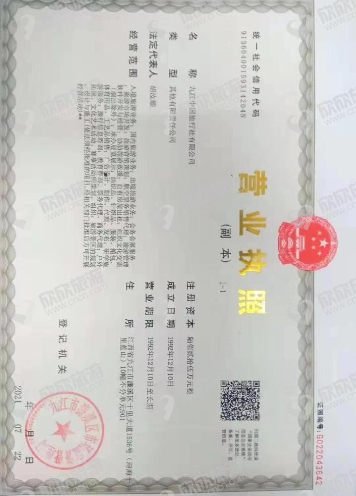 九江中国旅行社有限公司【国内旅游部】营业执照