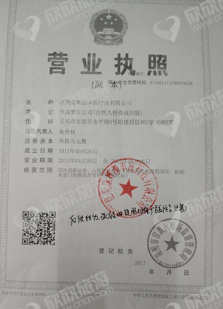 昆明康辉源丰旅行社有限公司营业执照