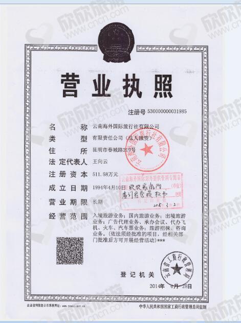 云南海外国际旅行社有限公司营业执照