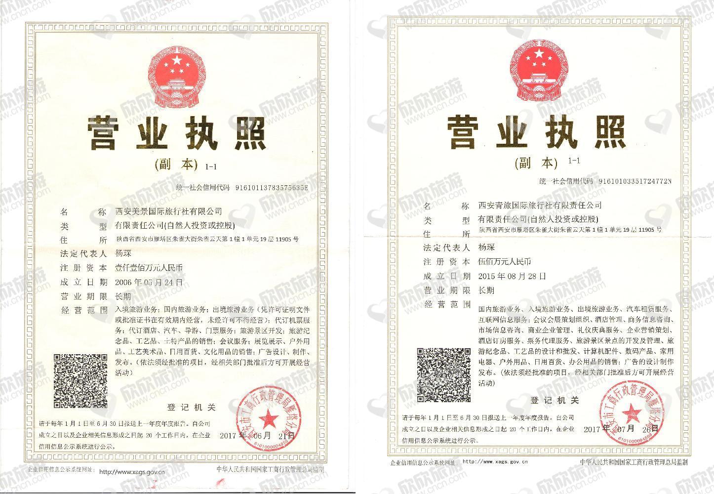 西安青旅国际旅行社有限责任公司营业执照