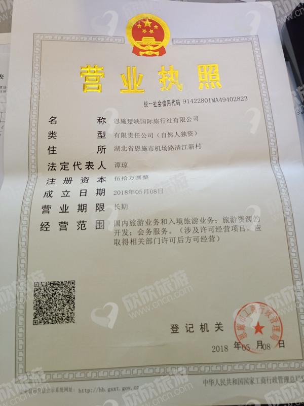 恩施楚峡国际旅行社有限公司营业执照