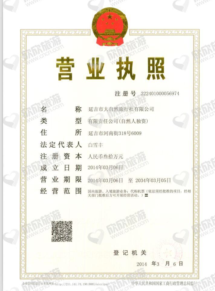 延吉市大自然旅行社有限公司营业执照