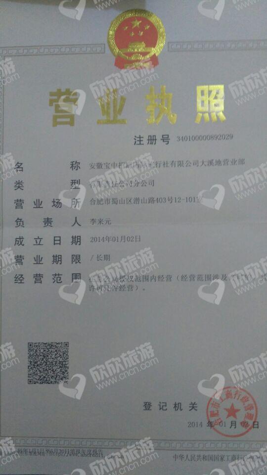 安徽宝中招商国际旅行社有限公司大溪地营业部营业执照