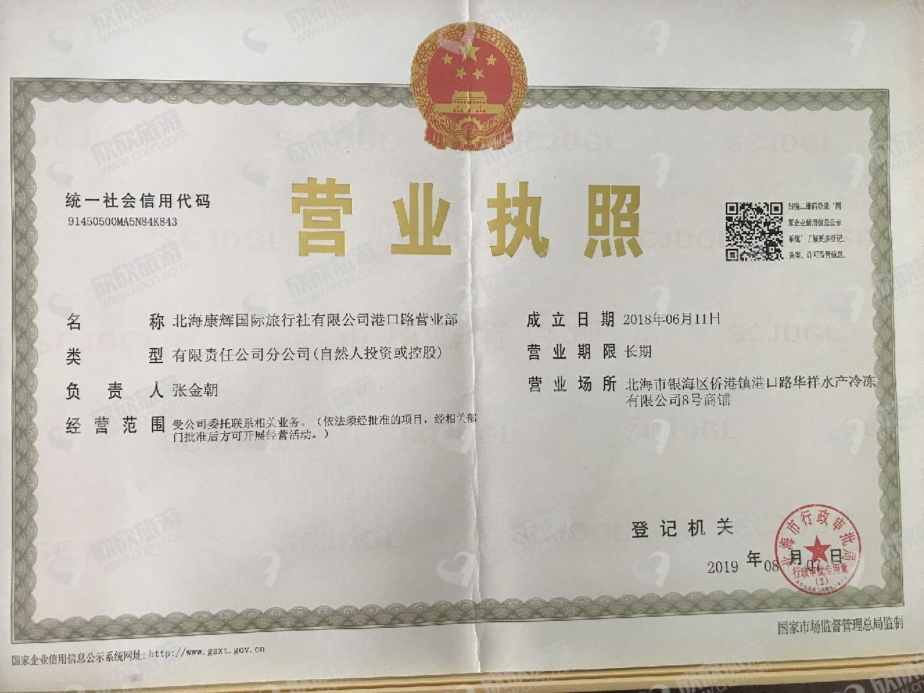 广西商务国际旅行社有限责任公司营业执照