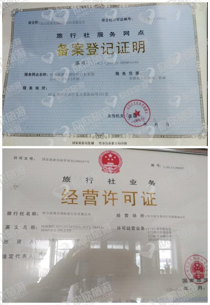 哈尔滨观光国际旅行社有限公司大直街门市部经营许可证