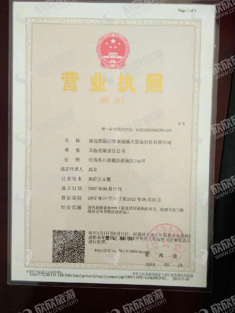 延边新港运输集团满天星旅行社有限公司营业执照