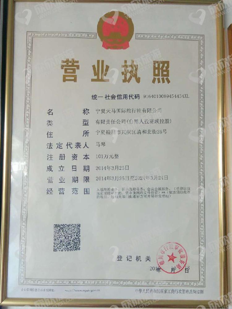 宁夏天马国际旅行社有限公司营业执照