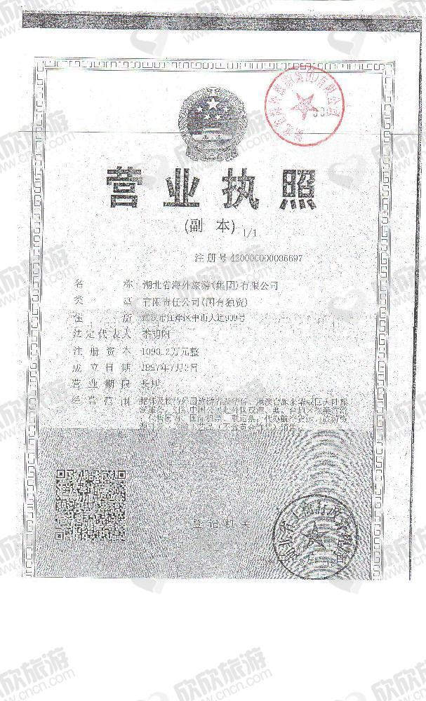 湖北省海外旅游(集团)有限公司营业执照