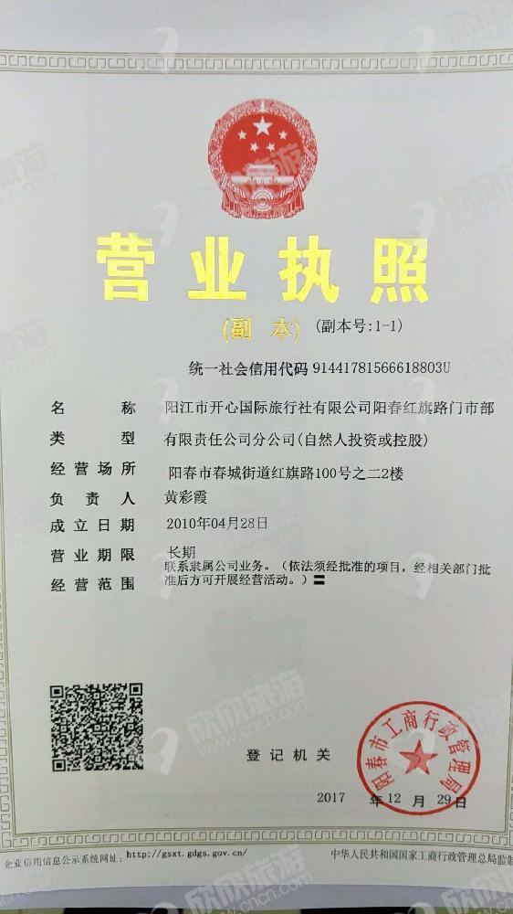 阳江市开心国际旅行社有限公司阳春红旗路营业部营业执照