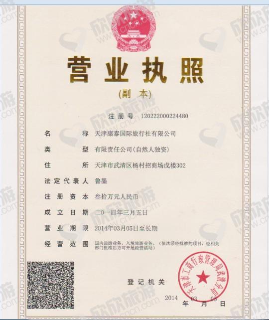 天津康泰国际旅行社有限公司营业执照
