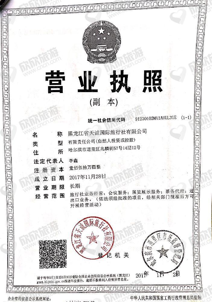 黑龙江省天诚国际旅行社有限公司营业执照